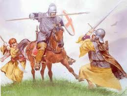 Irish Gallowglass and Kern defending against English Cavalry painting by Angus McBride