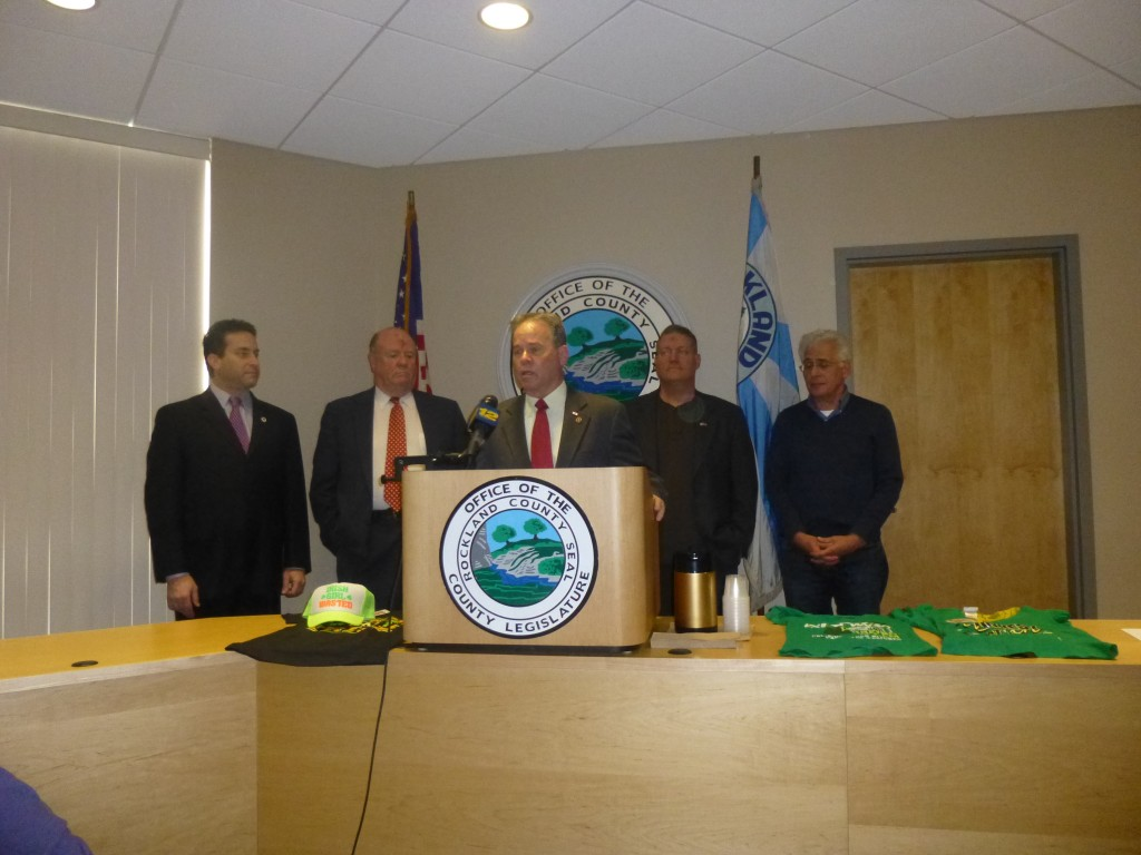 In a news conference called by Legislator Patrick Moroney, Rockland Legislators spoke out on Defaming Merchandise targeting the heritage of the Irish American Community.  (Photo From the Rockland County Times)